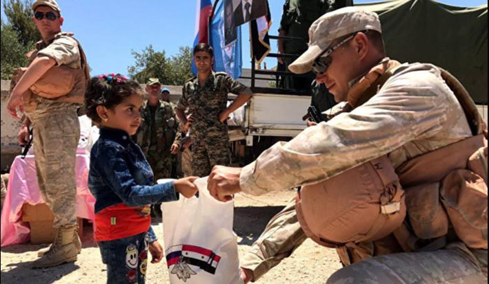 Раздача российской гуманитарной помощи в Сирии