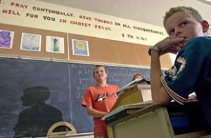 Ученики 7ого класса христианской школы (Calvin Christian School) участвуют в религиозных дебатах (Канада, г. Дандас).