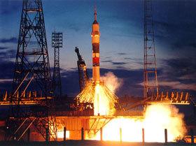 Пуск космического корабля с космодрома Байконур