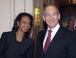 Госсекретарь США Кондолизза Райс и Премьер-министр Израиля Эхуд Ольмерт