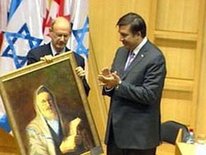 Михаил Саакашвили во время визита в Израиль в 2006 году