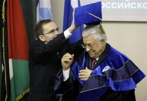 Церемония присвоения лидеру Палестинской автономии почетного звания. Москва, 17 апреля 2008 г.
