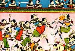 Древнеегипетские фрески, обнаруженные вблизи города Минья, изображают девочек, бьющих ногами мяч. Возраст фресок - 5 тысяч лет.