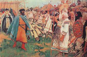 Князь Глеб направляется к новгородскому волхву, чтобы убить его