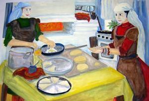 Татарские женщины готовят праздничные угощения. Фото: vplicei.ru