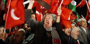 Встречавшие премьера Эрдогана размахивали флагами Турции и Палестины