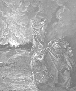 Пророк Лот покидает Содом и Гоморру, уничтожаемые Всевышним. Картина Гюстава Доре.