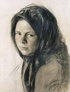 Портрет крестьянки. 1910-е, картина Ивана Куликова