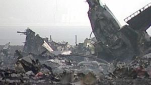 Обломки разбившегося самолета