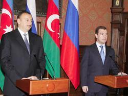 Президенты России и Азербайджана выступают на пресс-конференции по итогам переговоров в Барвихе
