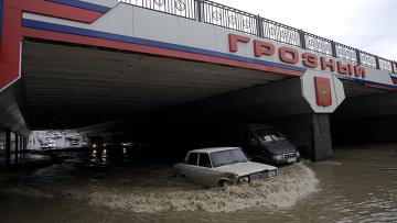 Последствия сильного ливня в Грозном