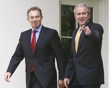 Бывший президент США Джордж Буш и экс-премьер Великобритании Тони Блэр