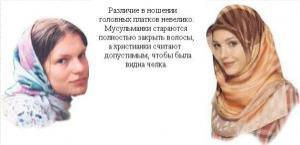 Различие в ношении головных платков  невелико. Мусульманки стараются полностью закрыть волосы, а христианки считают допустимым, чтобы была видна челка.