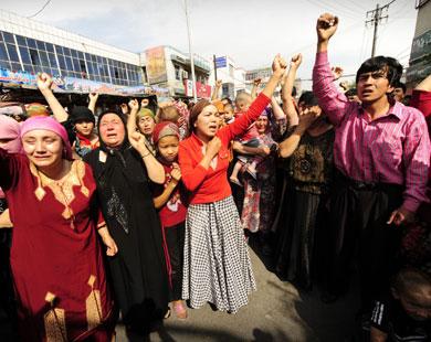 Уйгуры во время демонстрации