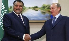 Саудовский принц Бандар бин Султан встречается с президентом России Владимиром Путиным во время визита в Москву