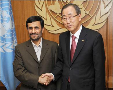 Генсек ООН Пан Ги Мун и президент Махмуд Ахмадинежад