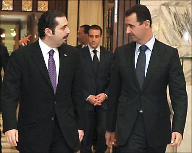 Саад аль-Харири с сирийским президентом Башаром аль-Асадом