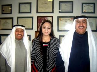 Профессор Ирина Карабулатова с шейхами Махмуд ал Мулла (слева) и Набилем Ибрахимом Камалем