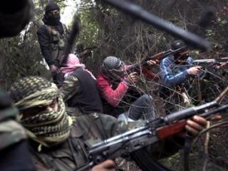"""Вооруженные повстанцы """"Сирийской свободной армии"""" в горной местности в провинции Идлиб"""