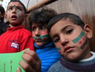 Сирийские дети на антиправительственном митинге