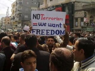 """""""Нет терроризму. Мы хотим свободы"""", - гласит один из лозунгов оппозиции"""
