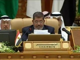 Мухаммед Мурси на открытии сессии арабского экономического саммита в Саудовской Аравии