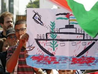 Акция протеста против предпринятой израильтянами атаки «Флотилии свободы»