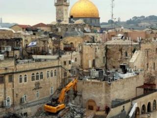 Строительство синагоги в 50 м. от аль-Аксы. Февраль 2013.