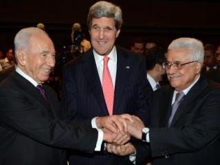 Президент Израиля Шимон Перес, госсекретарь США Джон Керри и глава Палестинской автономии Махмуд Аббас