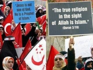 Демонстрация турецких мусульманок в защиту своей религии