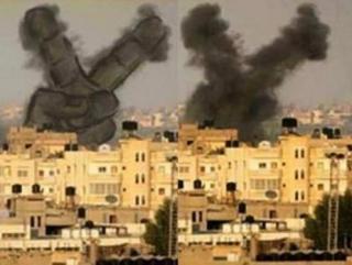 Палестинцы рисуют на разрывах израильских бомб