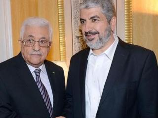 Махмуд Аббас и Халед Мишааль во время встречи в Дохе