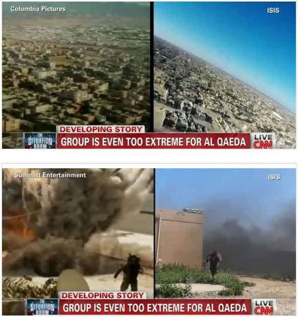 Сравнение кадров из голливудского триллера и агитационного фильма ИГИЛ