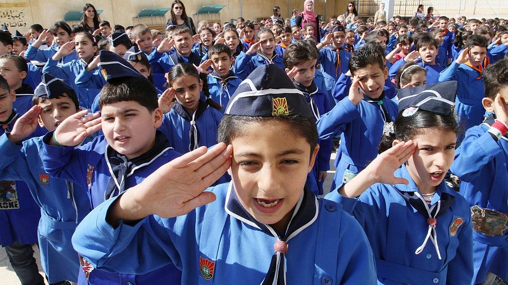 Сирийские школьники во время линейки (AP Photo)