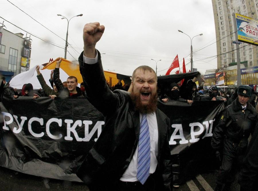 Dmitry Dyomushkin, the leader of the Slavic Union, Russia's most radical ultra-nationalist organisation, shouts slogans during a demonstration on the outskirts of Moscow, November 4, 2010. Russia marks the Day of People's Unity on November 4 when it celebrates the defeat of Polish invaders in 1612 and replaces a communist celebration of the 1917 revolution.  REUTERS/Mikhail Voskresensky  (RUSSIA - Tags: POLITICS CIVIL UNREST ANNIVERSARY IMAGES OF THE DAY)
