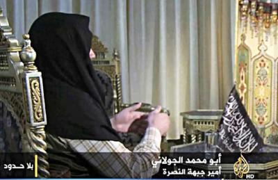 Во время интервью  Абу Мухаммада аль-Джулани телеканалу «Аль-Джазира»