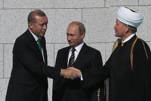 Эрдоган, Путин и Гайнудтин на открытии Соборной мечети Москвы