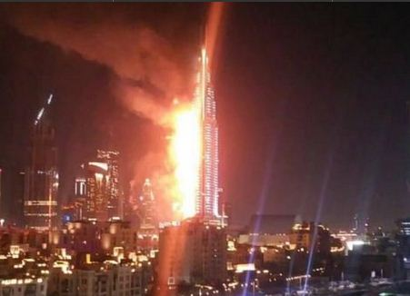 Загорелась гостиница-небоскреб у самого высокого здания мира