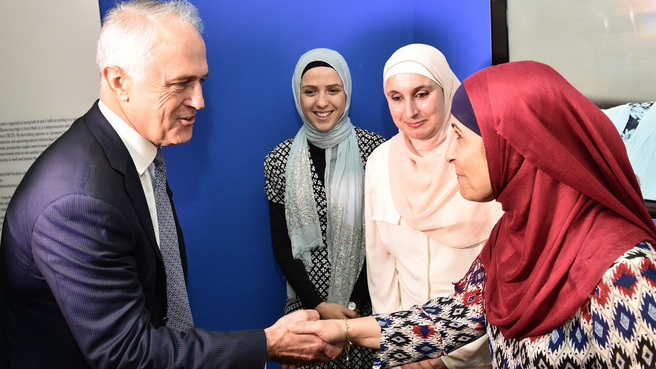 Australian Prime Minister Malcolm Turnbull tours the Islamic Museum of Australia in Thornbury in Melbourne, Monday, March 7, 2016. (AAP Image/Julian Smith) NO ARCHIVING
