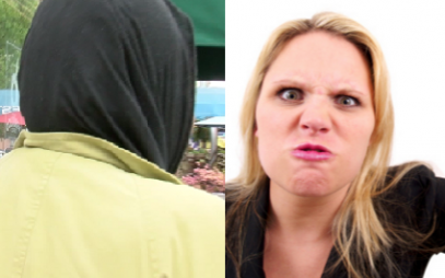 Злобная блондинка атаковала мусульманку на улице