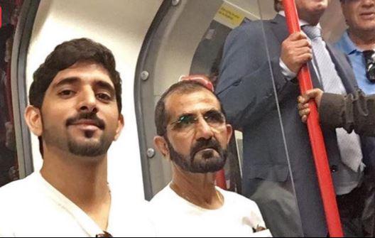 Эмир Дубаи с сыном в метро Лондона