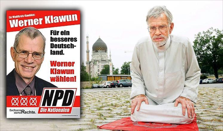 Вернер Клаун читает намаз на улице Дрездена