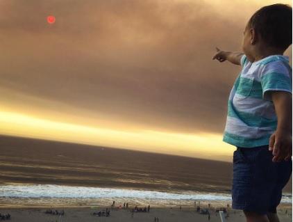 Из-за густого тумана от пожаров солнце приобрело необычный пугающий вид