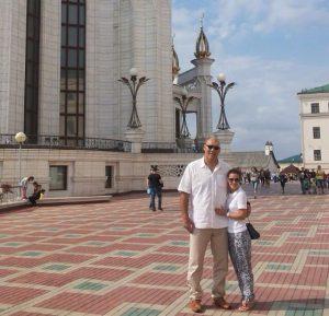 Николай Валуев с женой в Казани