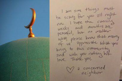 Трогательная записка на двери мечети спровоцировала острую полемику
