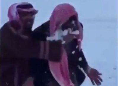 Необычный восторг саудовцев от снега (ВИДЕО)