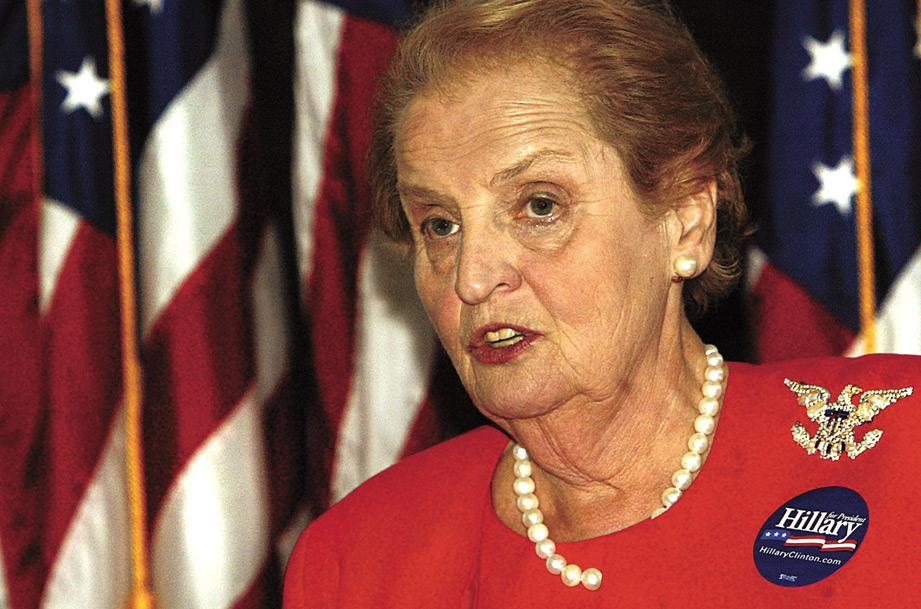 Former Secretary of State Madeleine Albright campaigns Thursday for U.S. Sen. Hillary Clinton at the Putnam Museum and IMAX Theater in Davenport.