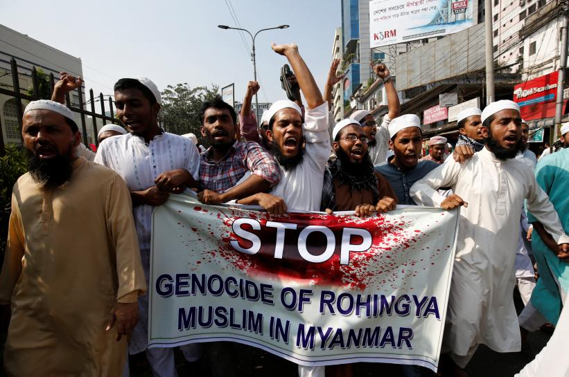 Bangladeshi activists of an Islamic group protest against the deaths of the Rohingya people in the Rakhine state of Myanmar, in Dhaka, Bangladesh, December 1, 2016. REUTERS/Mohammad Ponir Hossain
