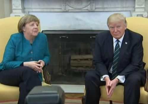 На встрече Трампа и Меркель произошел конфуз (ВИДЕО)