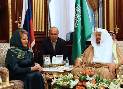 Матвиенко в зеленом хиджабе произвела фурор в Саудии